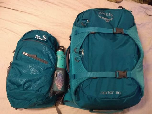 My day pack and Osprey Porter 30